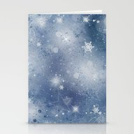 Silver Blue Snowflakes Stationery Cards