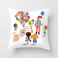 Balloon Stand Throw Pillow
