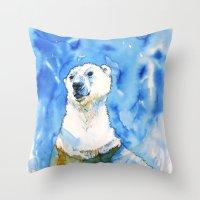 Polar Bear Inside Water Throw Pillow