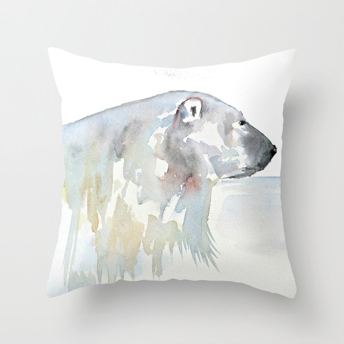 Polar Bear Throw Pillow : Watercolor polar bear Throw Pillow by Craftberrybush Society6