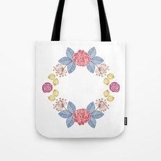 Hand Drawn Floral Wreath Design Tote Bag