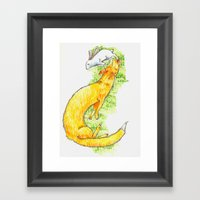 Fox Chasing Rabbit Framed Art Print