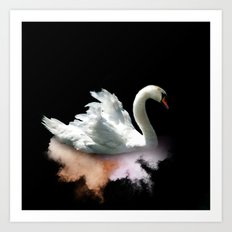 White Swan on Orange Art Print