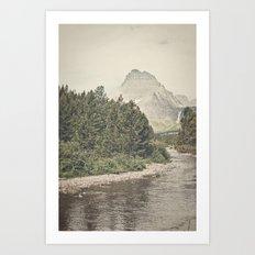 Retro Mountain River Art Print