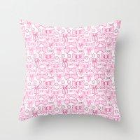 bows pink Throw Pillow