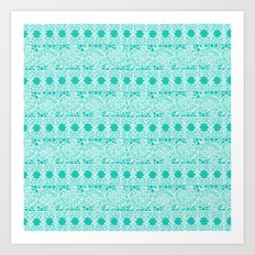 Lacey Lace - White Teal Art Print