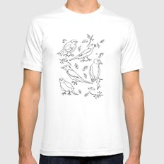 Singing Birds SMALL Mens Fitted Tee White