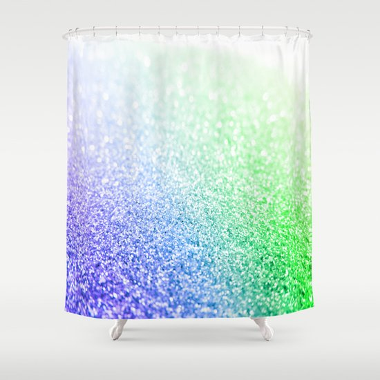 blue lavender green ombre glitter shower curtain by