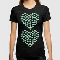 Hearts Heart X2 Mint Womens Fitted Tee Tri-Black SMALL