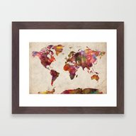 Framed Art Print featuring World Map by MapMapMaps.Watercolo…