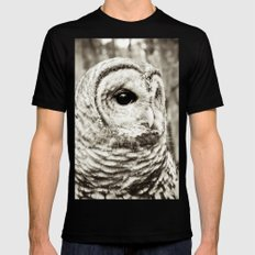 Wise Old Owl Black Mens Fitted Tee SMALL