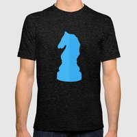 Blue Chess Piece - Knight Mens Fitted Tee Tri-Black SMALL