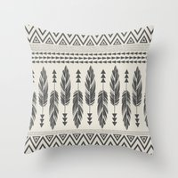 Tribal Feathers-Black & … Throw Pillow