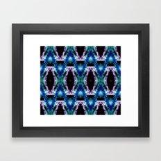 Blue Black Space Diamond Pattern Framed Art Print