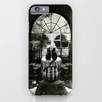 iPhone Cases featuring Room Skull B&W by Ali GULEC