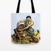 Ron Swanson Slaying A Lion  |  Parks and Recreation Tote Bag