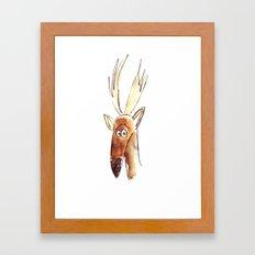 Suspicious Stag Framed Art Print