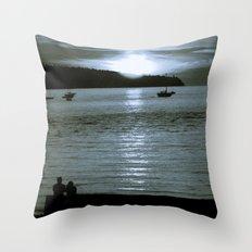 watching the sun set Throw Pillow