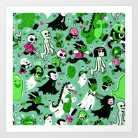 Alt Monster March (Green) Art Print