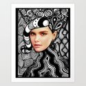 Face Tangle Art Print