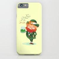 iPhone Cases featuring Kiss Me I'm Irish with cute chibi cartoon Leprechaun by Jera RS