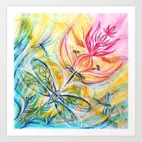 Yellow Fire Spirits Art Print