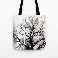 Tree Silhouette on Wood Tote Bag