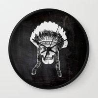 Skull Indian Headdress -… Wall Clock