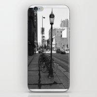 B&W City with Bikes iPhone & iPod Skin
