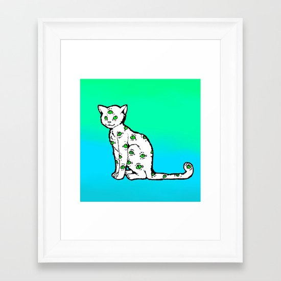 SCAREDY CAT (Cool Colors) Framed Art Print