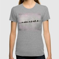 9 Birds On A Wire Womens Fitted Tee Tri-Grey SMALL
