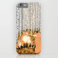 Fox family in the autumn forest iPhone 6 Slim Case