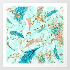 Feather peacock peach mint #1 Art Print