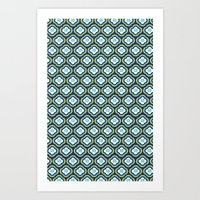 Navy Graphic Flower Art Print