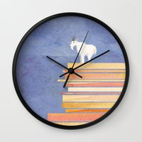 Goat on a Cliff Wall Clock