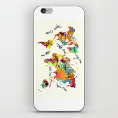 world map art text iPhone & iPod Skin