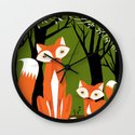 Two Fine Foxes Wall Clock