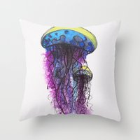 Sketchy Jellyfish Throw Pillow