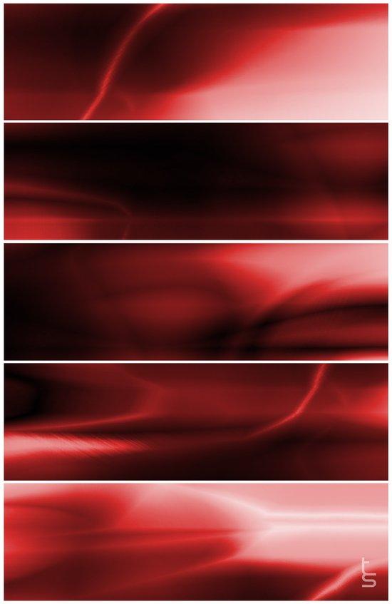 Red Plasma Storm (Five Panels Series) Canvas Print