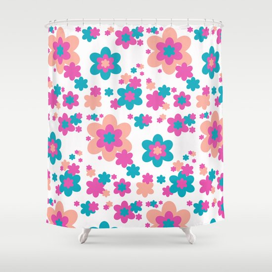 Teal Blue Hot Pink And Coral Floral Shower Curtain By