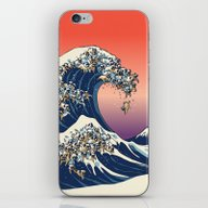 iPhone & iPod Skin featuring The Great Wave Of Pug   by Huebucket