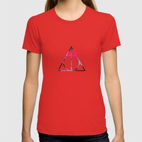 The Deathly Space Hallow… Womens Fitted Tee Red SMALL