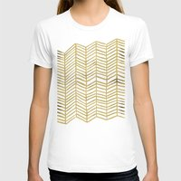 abstract T-shirts featuring Gold Herringbone by Cat Coquillette