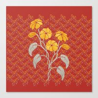 Flowers Red Pattern Canvas Print