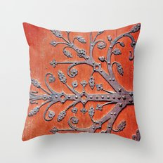 Gothic Red Door Throw Pillow