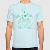 Space Alien Sci Fi art Lines Only by RonkyTonk Mens Fitted Tee Light Blue SMALL