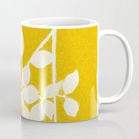 white branch on golden tone Mug
