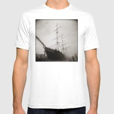 { equilibrium } White Mens Fitted Tee SMALL
