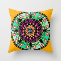 round flower collage Throw Pillow