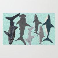 Sharks nature animal illustration texture print marine biologist sea life ocean Andrea Lauren Rug